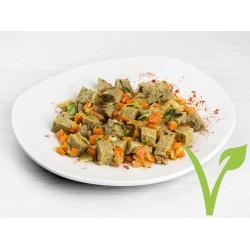 Salteado de seitán con cebolla y zanahoria